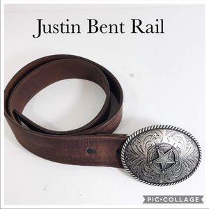 Justin Bent Rail brown leather buckle belt